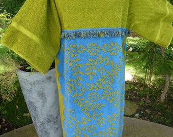 Terry Cloth Towel Swim Suit Coverup Green and Blue Vintage Kimono Style