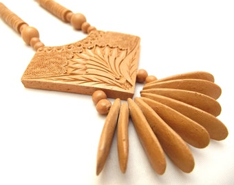 Vintage 1970s long terracotta clay hand made bead necklace with focal pendant