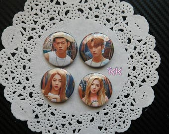K.A.R.D Lot of 4 Buttons 1.25 Inches