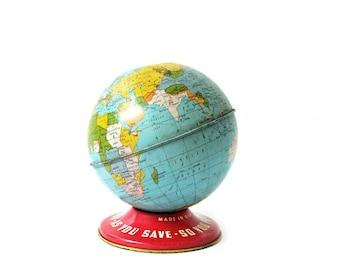 Vintage World Globe Metal Bank