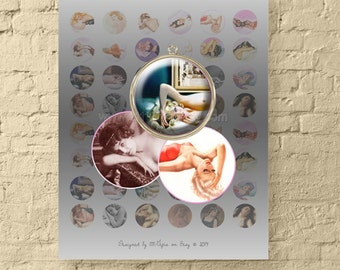 1 Inch Circle Photo Collage Download / Vintage Sleeping Beauties / 1 Inch Round Images of Pin-Up Girls, Models / Printable, Digital Download