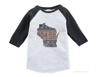 Wisconsin Youth Raglan T-Shirt | Toddler Tee Shirt Vintage License Plate Art | Wisconsin State Outline Art | Gift | Youth Clothing