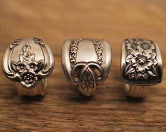 Silver Spoon Ring, Elegant Spoon Ring, Vintage Spoon Ring, Overlap Spoon Ring, Fork Ring, Retro Ring, Silverplate Ring, Silverware Jewelry
