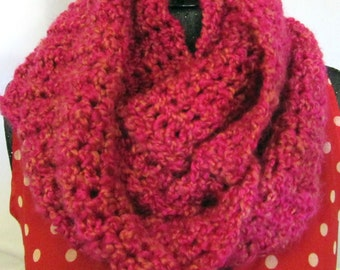 Pink Infinity Scarf Loop Circle Cowl Womans Graduation Mothers Day Gift Oversize Chunky Extra Long Stylish Crochet knit Handmade Unique