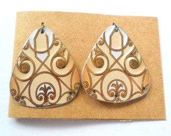 Upcycled German Ginger Cookie Tin Earring Findings Pair