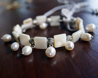 Pearl Wedding Anklet, Mother of Pearl Anklet, Bridal Anklet, White Wedding Anklet, Foot Jewelry, 1 Piece