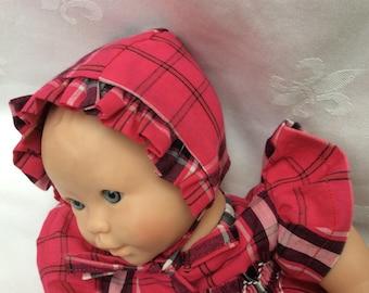 Doll clothes pink crush tartan doll 30 cm