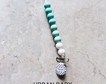 Pacifier Clip, Silicone Pacifier Clip, Teether, Silicone Beads, Food Grade, Chewelry, Brooklyn, Mint, Turquoise, White