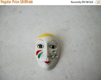 ON SALE Vintage Mask 2 Inch Clear Rhinestone Tears Plastic Pin 62317