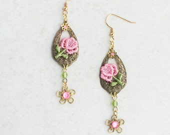Pink Lace Filigree Earrings, Flower Lace Applique Earrings