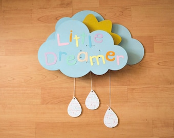 """""""Little Dreamer"""" musical mobile clouds and Sun with Lullaby baby"""