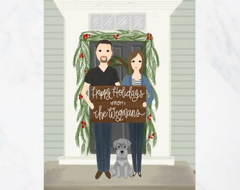 Custom Illustrated Christmas Card Full Body DIGITAL FILE | Holiday Card | Couple Illustration | Family Illustration | Personalized Card |
