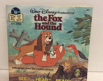 1981 Walt Disney's The Fox and the Hound Book and Record