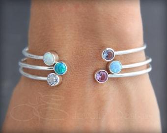 DUAL BIRTHSTONE BRACELET - adjustable opal bracelet, dual gemstone, mothers cuff, birthstone bracelet, two birthstones, dual gemstone bangle