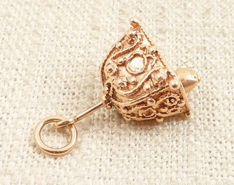 Vintage Ornate 14K Gold Bell Charm