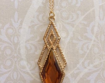 Amber Necklace - Amber Jewelry - Amber Pendant - Amber Gold Necklace - Amber Gold Jewelry - Dressy Necklace - Formal Necklace - Gold Jewelry