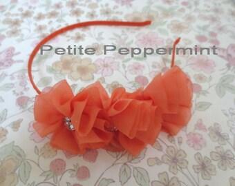 Orange baby headband, toddler headband, girl head band, flower girl headband, orange flower hard headband, girl plastic headband