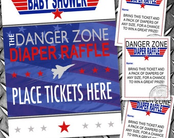Top Gun Diaper Raffle - INSTANT DOWNLOAD - Printable Fighter Jet Baby Shower Digital Files by Sassaby Parties
