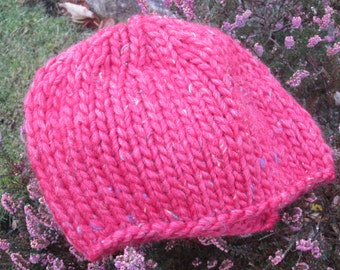 Gift for Mothers Day - Ladies handknitted beanie hat in red