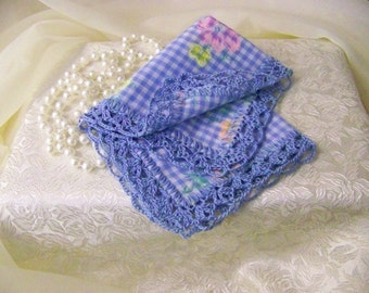 Something Blue, Bridal Handkerchief, Hanky, Hand Crochet, Pastel, Bouquet Wrap, Personalized, Monogrammed, Floral, Gingham, Lace, lacy