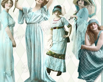 Babe Blues Vintage Ladies Collection Instant Download PNG cu ok