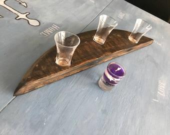 Oak Scottish whisky barrel stave shot glass holder; or tealight holder