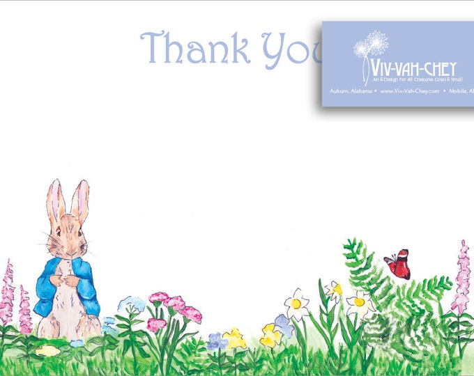 Hand Painted Peter Rabbit   Thank You Stationery