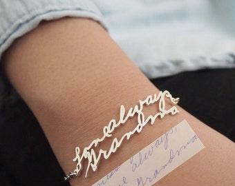 Écriture Bracelet • écriture réelle personnalisé bijoux • Signature Bracelet • Memorial personnalisé cadeau • BH01 de fête des mères souvenir cadeau •