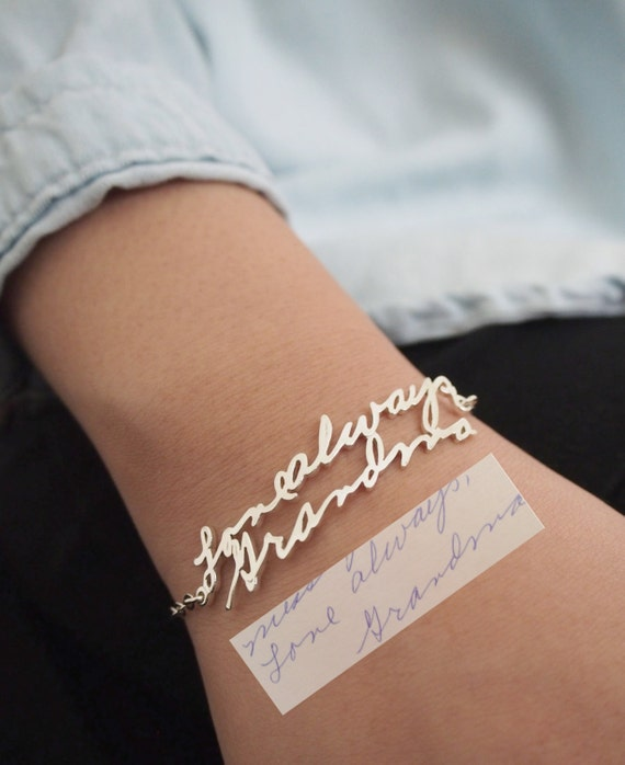 Handwriting Bracelet • Custom Actual Handwriting Jewelry • Signature Bracelet • Memorial Personalized Keepsake Gift • Mother's Gift • BH01