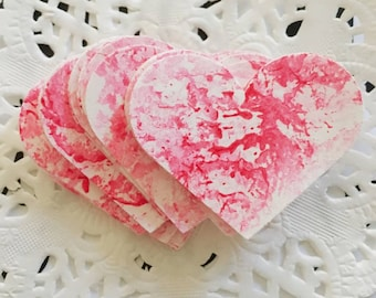 Pink Hand Painted Love Hearts, Paper Embellishments Small Pk 55 - Wedding, Bonbonierri, Valentines Day, Table Scatters