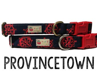 "Nautical Preppy Dark Blue Red Helm Sailing Sailor Dog Collar - Antique Metal Hardware - ""Provincetown"""