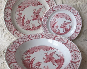 RARE Antique Victorian 1890- 1913 Set Of 3 Red Transferware Old Chelsea Furnival Limited Dishes
