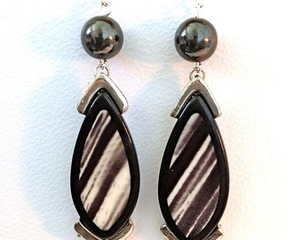 Handcrafted, Vintage, Dangle and Drop, Black Statement Earrings, Black and White Earrings