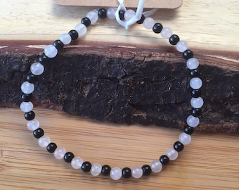 Rose Quartz and Onyx Anklet