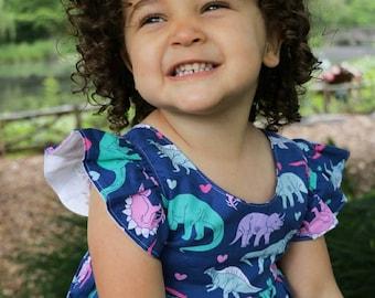 Dinosaur Dress, Dino Love Dress, Baby Dress, Toddler Dress, Girl's Dress