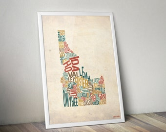 Idaho by County - Typography Print