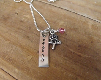 Hand Stamped Breathe Necklace
