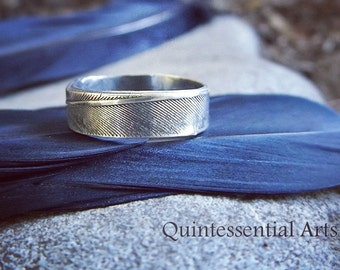 Nevermore - Crow Feather - Handmade Artisan Fine Silver Ring  US Size 7  by Quintessential Arts
