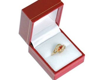 Classic Red Leatherette Ring Jewelry Display Packaging Gift Box Choose 1 6 12 24 48 96 or 144 Boxes