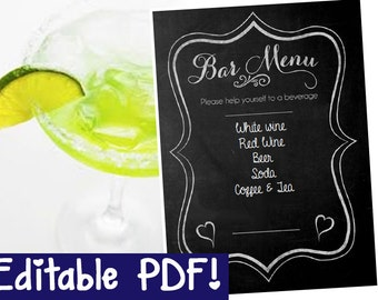 Bar Menu Chalkboard Sign EDITABLE - DIY - PRINTABLE - Instant Download, Print, Party - Paper Props Chalk Board signs - wedding, engagement