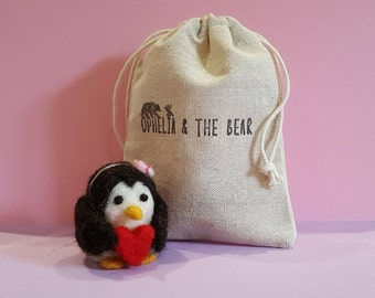Handmade needle felted penguin & pouch, cute gift, animal, penguin gift, wool penguin, wool animal, penguin ornament, heart, handmade, craft