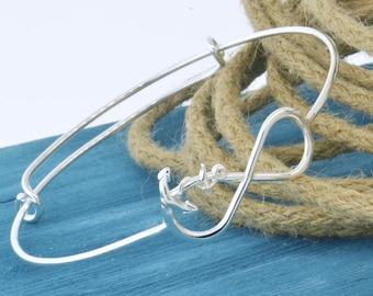 Anchor Infinity Bangle Bracelet, Infinity Anchor Bangle Bracelet, Anchor Infinity Jewelry, Adjustable Bangle, Gift For Her