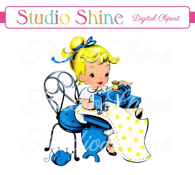 vintage digital clipart girl sewing printable image cute rh etsy com sewing clip art printables sewing clip art printables