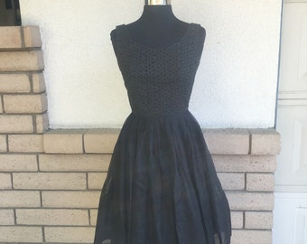 Vintage 50's Black Eyelet Fit and Flare Dress Size XS
