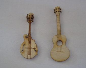Jewelry Pins Shaped Like Musical Instruments: Mandolin or Ukulele