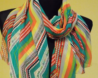 "Silk chiffon scarf  ""ODELE"" -  scarf for women -  scarves"