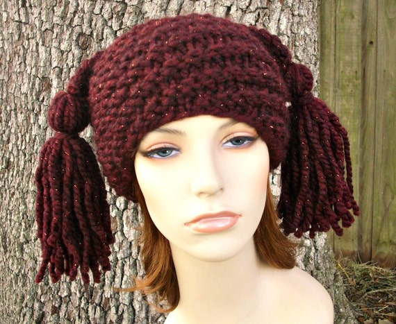 Knit Hat Womens Hat - Spiral Ponytail Tassel Hat in Metallic Cabernet Wine Red Knit Hat - Red Hat Red Beanie Womens Accessories Winter Hat