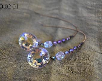 Clear Swarovski Aurora Borealis Nomad Earring with Swarovski Crystal Hook