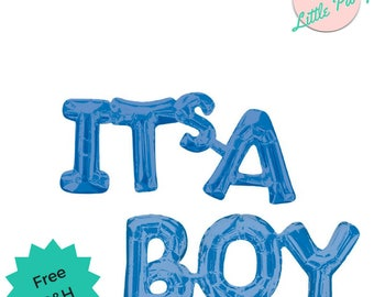 Baby Shower Balloons Blue Decoration - ITs A BOY Blue Balloon Letters Words