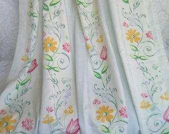 Vintage curtains 90s L 2.20 m, vintage over curtains 90s, curtain, over curtain tulip design,